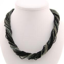 Muránói aprógyöngyös nyaklánc ezüst-fekete - Murano Glass