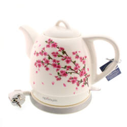 Porcelán vízforraló/teafőző (virág, 1L) - Optimum