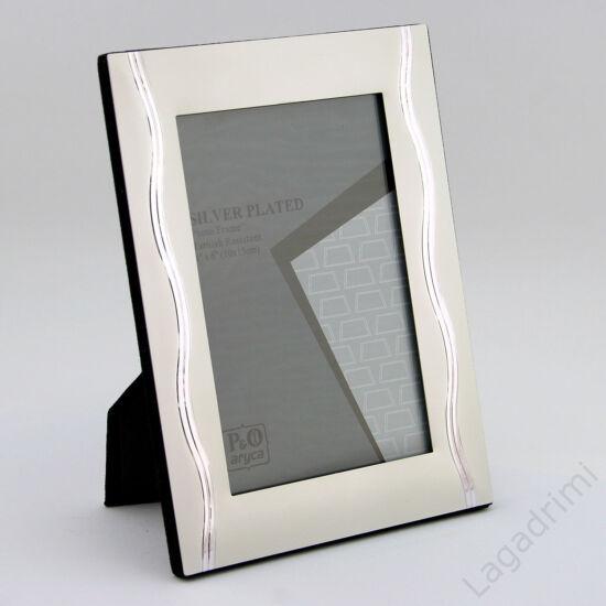 Fém képkeret - függőleges hullám III. (10x15cm) (silver plated)