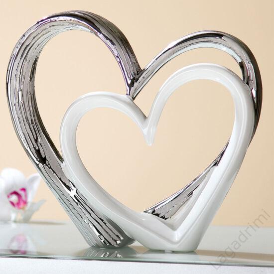 Kerámia szobor - szív - Heart for Heart - ezüst-fehér (18x17x6cm) - Gilde