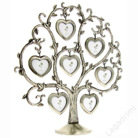 Családfa képkeret - 7 képes szív (rózsás, ezüst)
