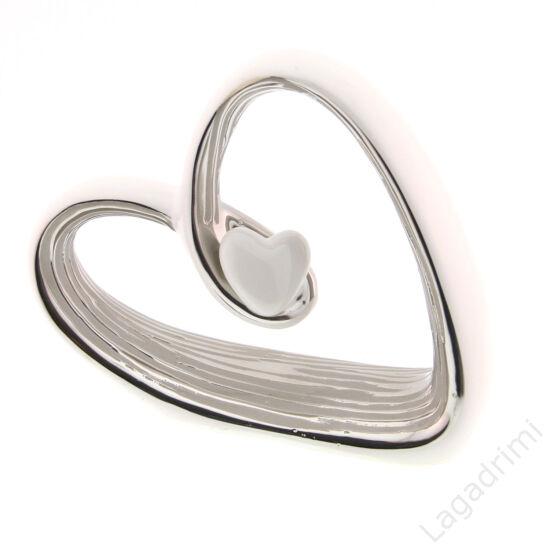 """Kerámia szobor - szív - """"Janina"""" - fehér-ezüst (7x20,5x16cm) - Gilde"""