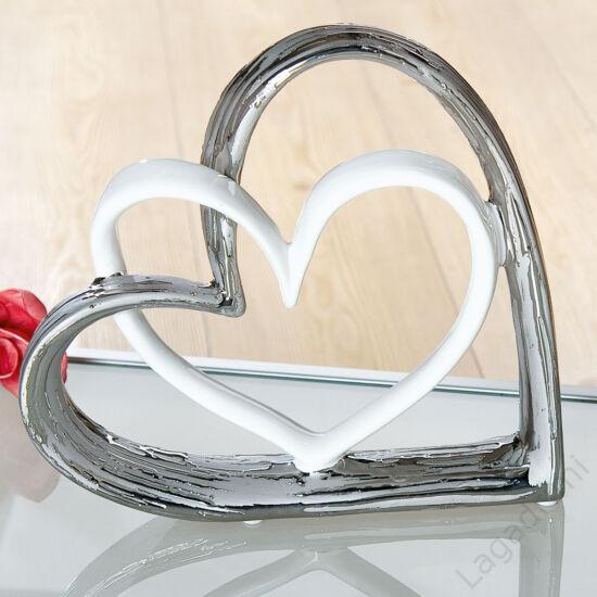 Kerámia szobor - szív - Heartly Connection - ezüst-fehér (17,5x17x5cm) - Gilde