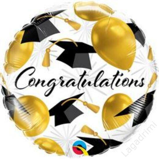 18 inch-es (46cm) Congratulations Gold Balloons Ballagási Fólia Lufi
