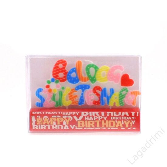 Party gyertya, Boldog Születésnapot (12cm)