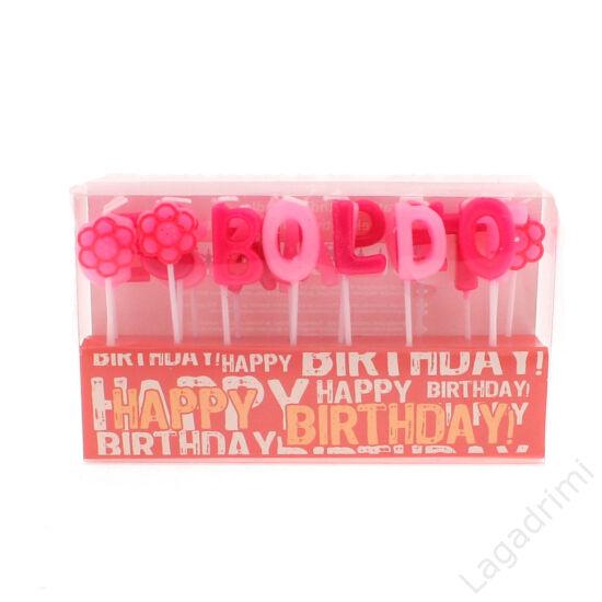 Party gyertya, Boldog születésnapot felirat (rózsaszín)