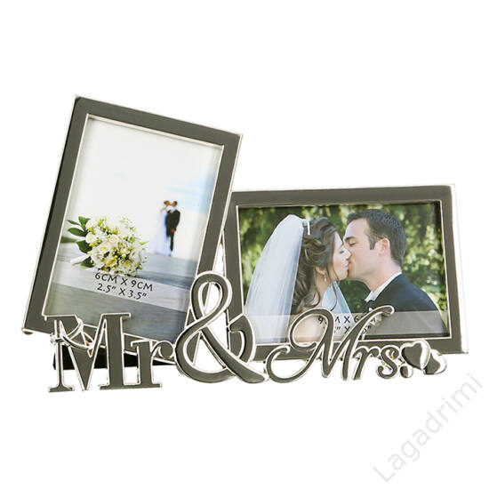 """Fém képkeret, 2 képes """"Mr+Mrs"""" (6x9cm-es kép) - Casablanca"""