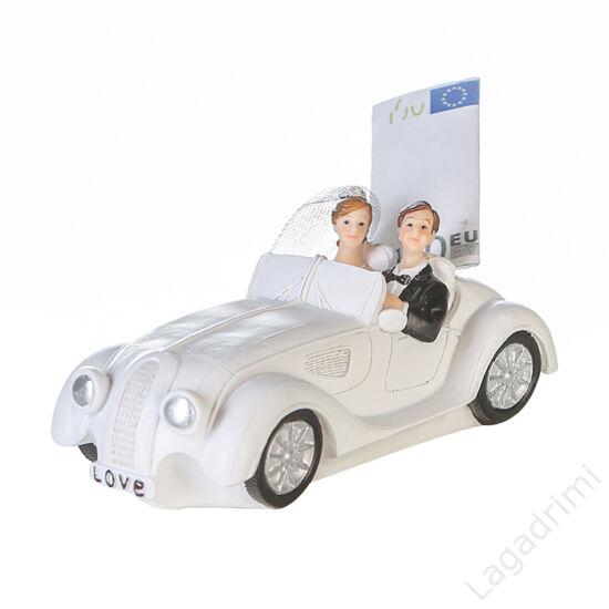 "Polyresin persely ""Wedding car"" (16x12x7cm) - Casablanca"