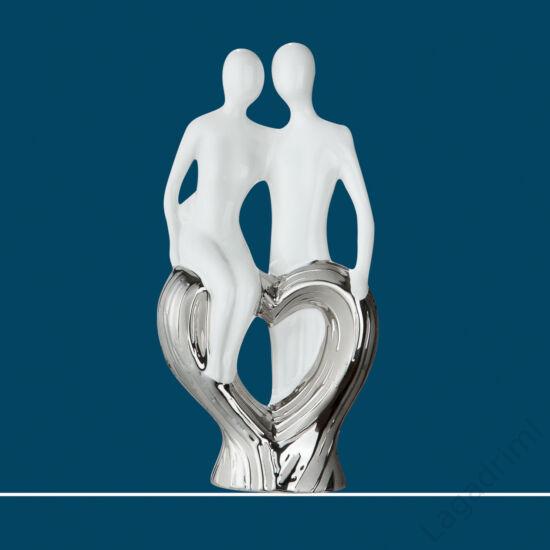 """Kerámia szobor - """"Francis"""" ezüst-fehér """"sitting on heart"""" (12x24x6cm) - Gilde"""