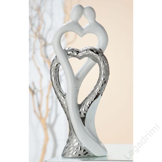"""Kerámia szobor - ezüst-fehér """"heart in heart"""" (13,5x34x6,5cm) - Gilde"""