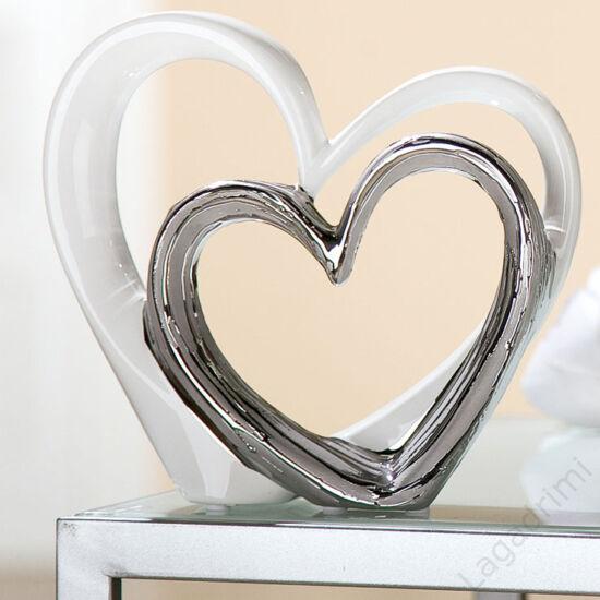 Kerámia szobor - szív - Heart for Heart - fehér-ezüst (18x17x6cm) - Gilde