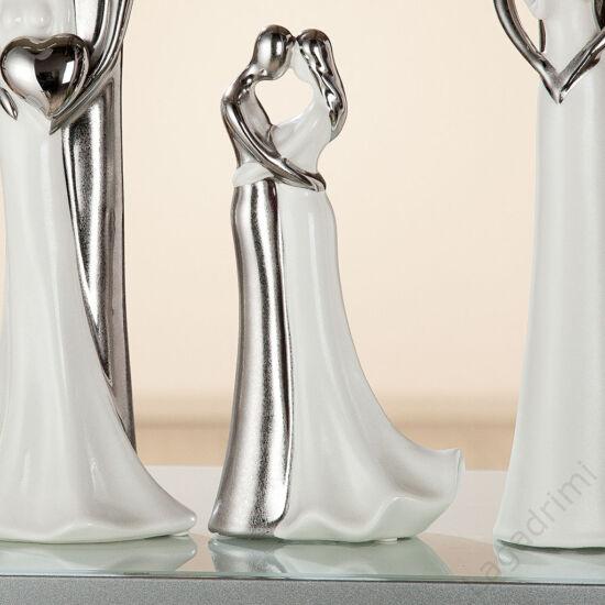 """Kerámia szobor - """"Love"""" ezüst-fehér (7,5x11,5x23cm) - Gilde"""