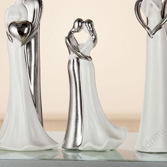"""Kerámia szobor - """"Love"""" ezüst-fehér (9,5x14,5x29,5cm) - Gilde"""