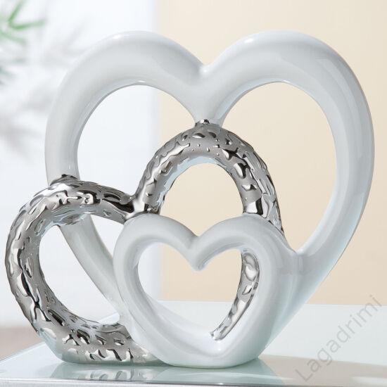 Kerámia szobor - szív - Heart trio (21x20x8cm) - Gilde