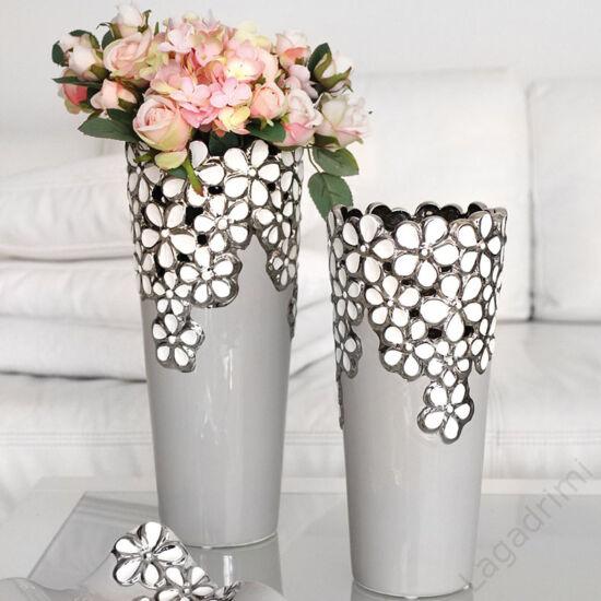 Diana fehér-ezüst-szürke kerámia váza 27cm - Gilde