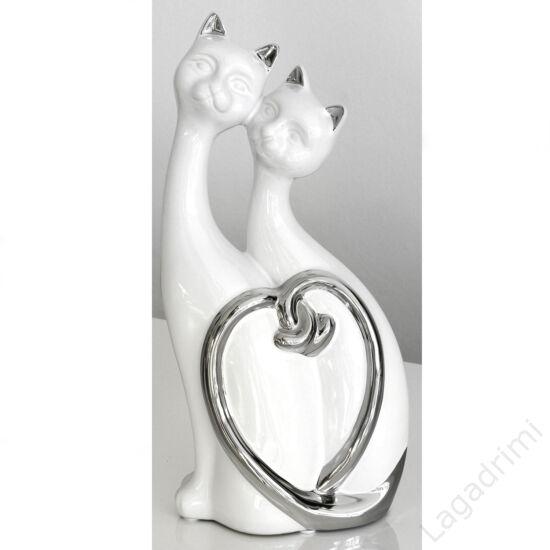 Kerámia szobor, ülő cicapár, ezüst-fehér (14x30x8cm) - Gilde