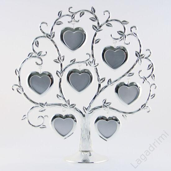 Ezüstözött családfa képkeret, szív - 7 képes