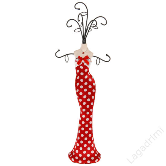 Ékszertartó baba piros, fehér pöttyös ruhában,8x35 cm