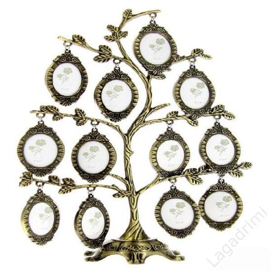 Családfa képkeret - 12 képes (rózsás, bronz)