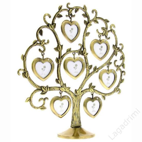 Családfa képkeret - 7 képes szív (rózsás, bronz)