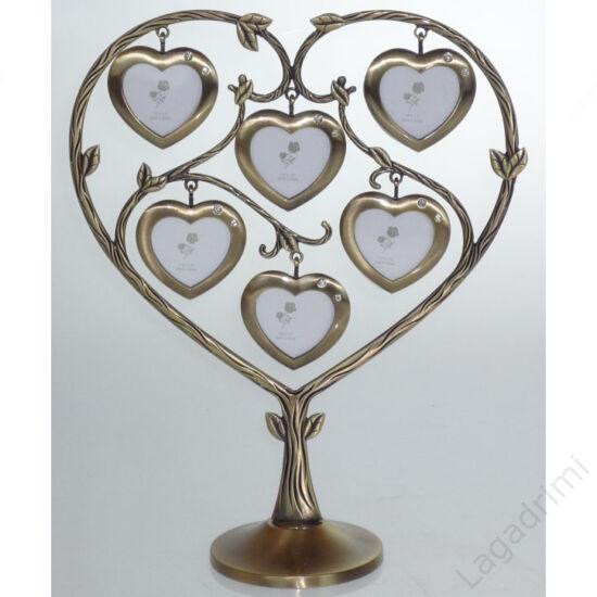 Családfa képkeret - 6 képes szív (bronz)