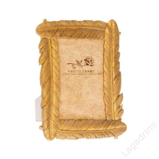 Madártoll mintázatú polyresin képkeret, arany (10x15cm képhez)
