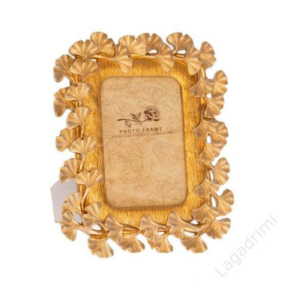 Gingko mintázatú polyresin képkeretl, arany (10x15cm képhez)