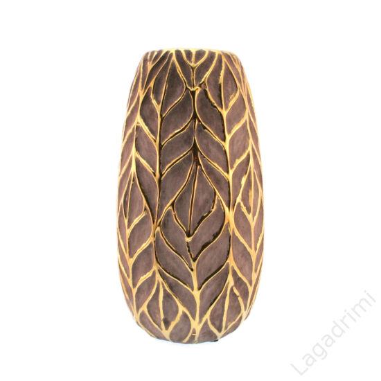 """Kerámia váza """"Leafgreygold"""" szürke-arany (13,5x25cm)"""