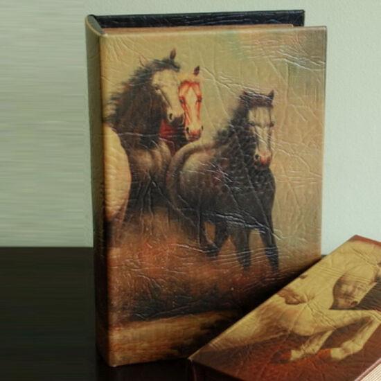 Műbőr könyvdoboz (27x18 cm) - Lovak