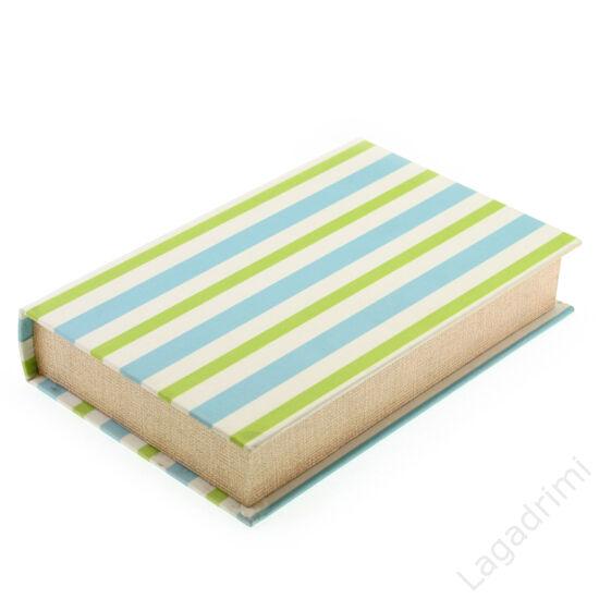 Selyem könyvdoboz (26x17 cm) - Kék-zöld csíkos