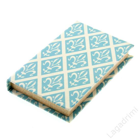 Selyem könyvdoboz (21x13 cm) - Kék barokk