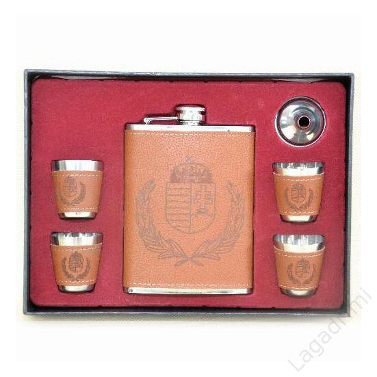 6 részes flaska szett műbör borítással - laposüveg 250ml, 4 pohár, tölcsér (világos barna)