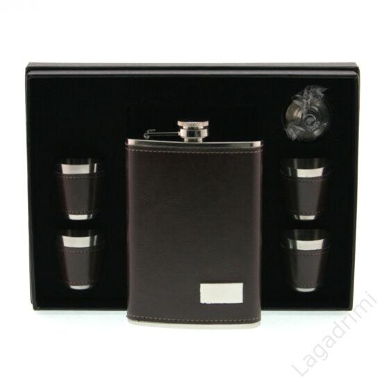 6 részes flaska szett műbör borítással - laposüveg 250ml, 4 pohár, tölcsér
