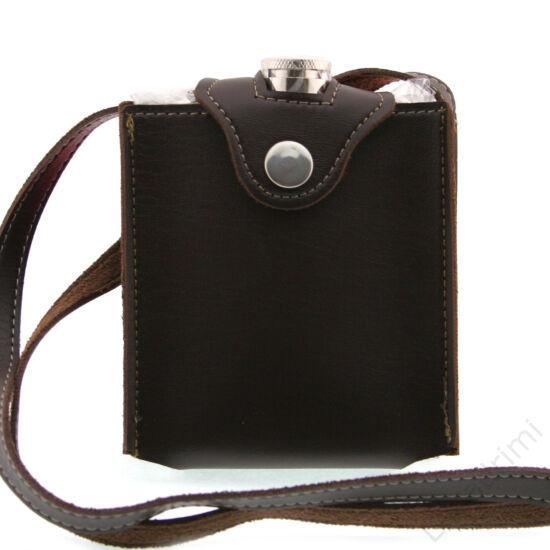 Laposüveg + nyakbaakasztható műbőr barna tok (200ml)