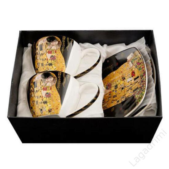 Gustav Klimt teás csésze+alátét fekete (2db, dobozos)