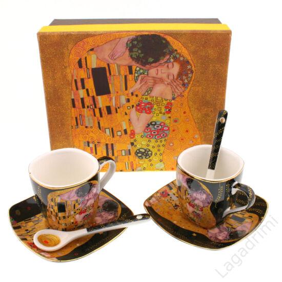 Gustav Klimt espresso csésze+alátét fekete (2db, dobozos)