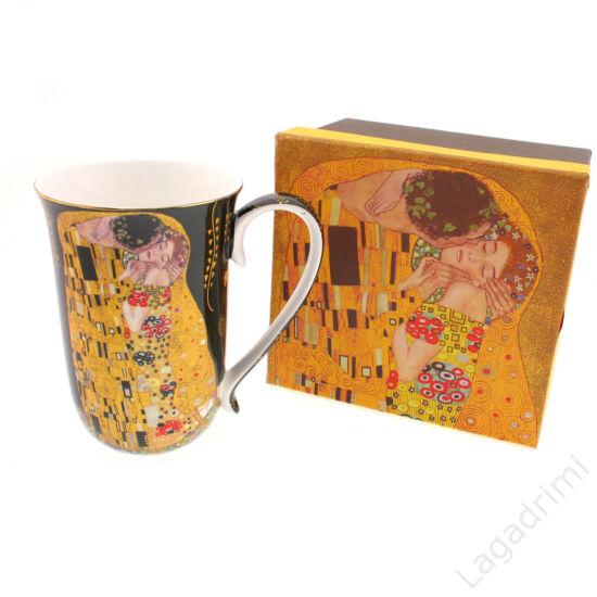 Gustav Klimt bögre (The Kiss, fekete, 400ml) dobozos