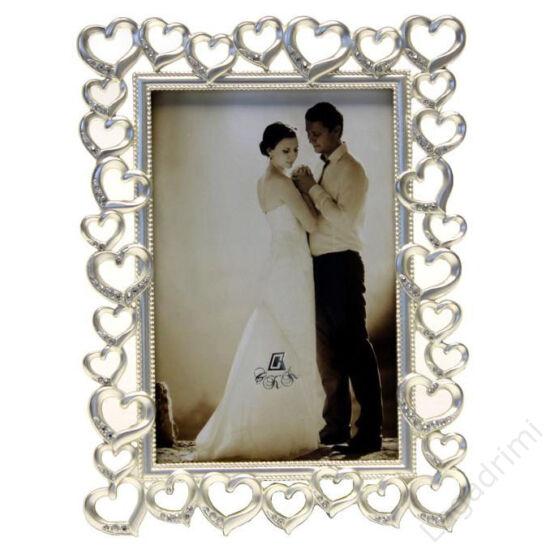 Esküvői fém képkeret - szíves, strasszos (10x15cm)