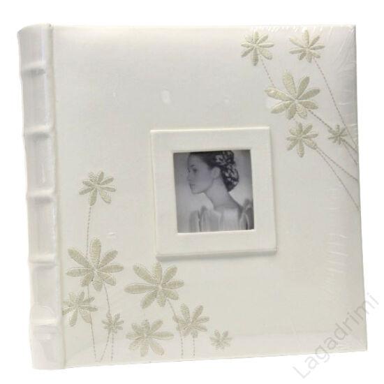 Fényképalbum esküvő bőr, virág dekorral, borítóján képpel (10x15 cm, 48 kép számára)