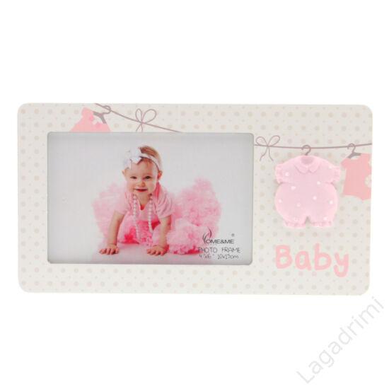 """Képkeret """"BABY"""" rózsaszín ruhával (15x10cm, fehér)"""