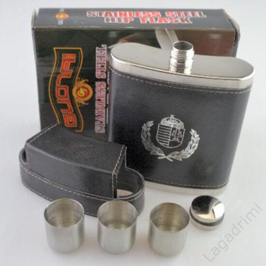 Fém flaska, magyar címeres műbőr borítással + 3db fém pohár (fekete, 2,27dl)