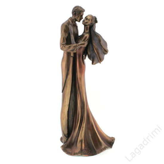 Szerelmes pár - bronz hatású polyresin szobor (14,5x35x12cm) - Veronese