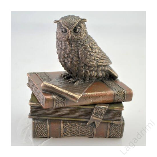 Könyveken ülő bagoly - bronz hatású polyresin szobor (10x12x8cm) - Veronese
