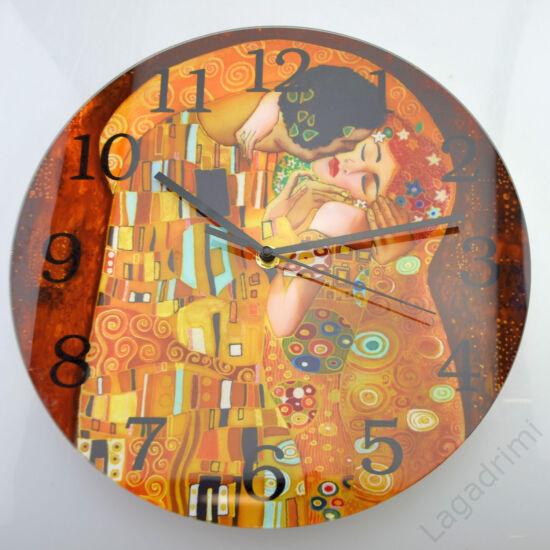 Gustav Klimt üveg óra (Kiss) (30cm)