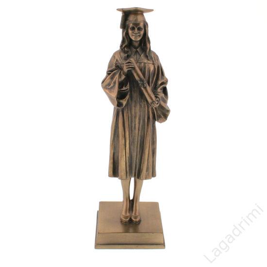 Diplomázó lány - bronz hatású polyresin szobor (6x20x6cm) - Veronese