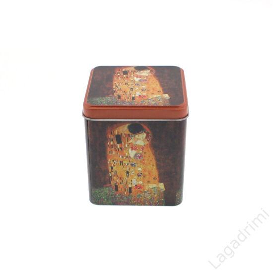 Fém tároló doboz, szögletes Klimt The Kiss (10x10x12cm)