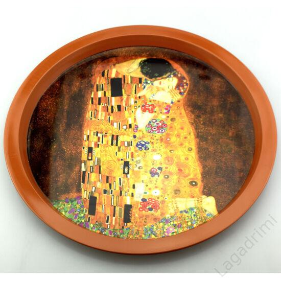Kerek fém tálca, Klimt The Kiss (32cm)