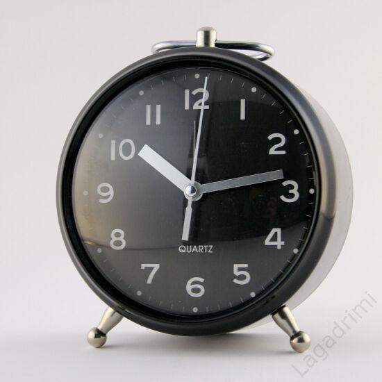 Fém ébresztőóra 13x15x9cm (fekete)