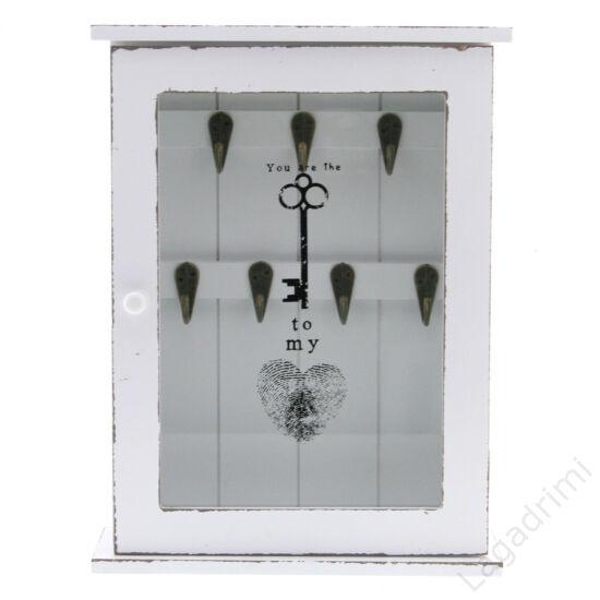 Kulcsosszekrény fa, üveg (22x8x29cm) - régies